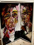 דיוקן עצמי ומראה שבורה - נורית צדרבוים 1987
